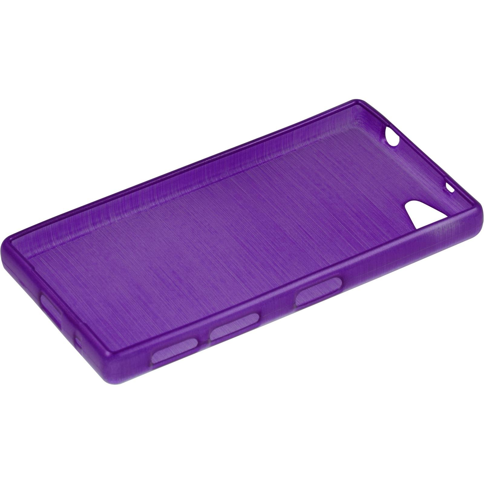 Silicone Case for Sony Xperia Z5 Compact - brushed purple - Cover PhoneNatic + protective foils by PhoneNatic (Image #4)