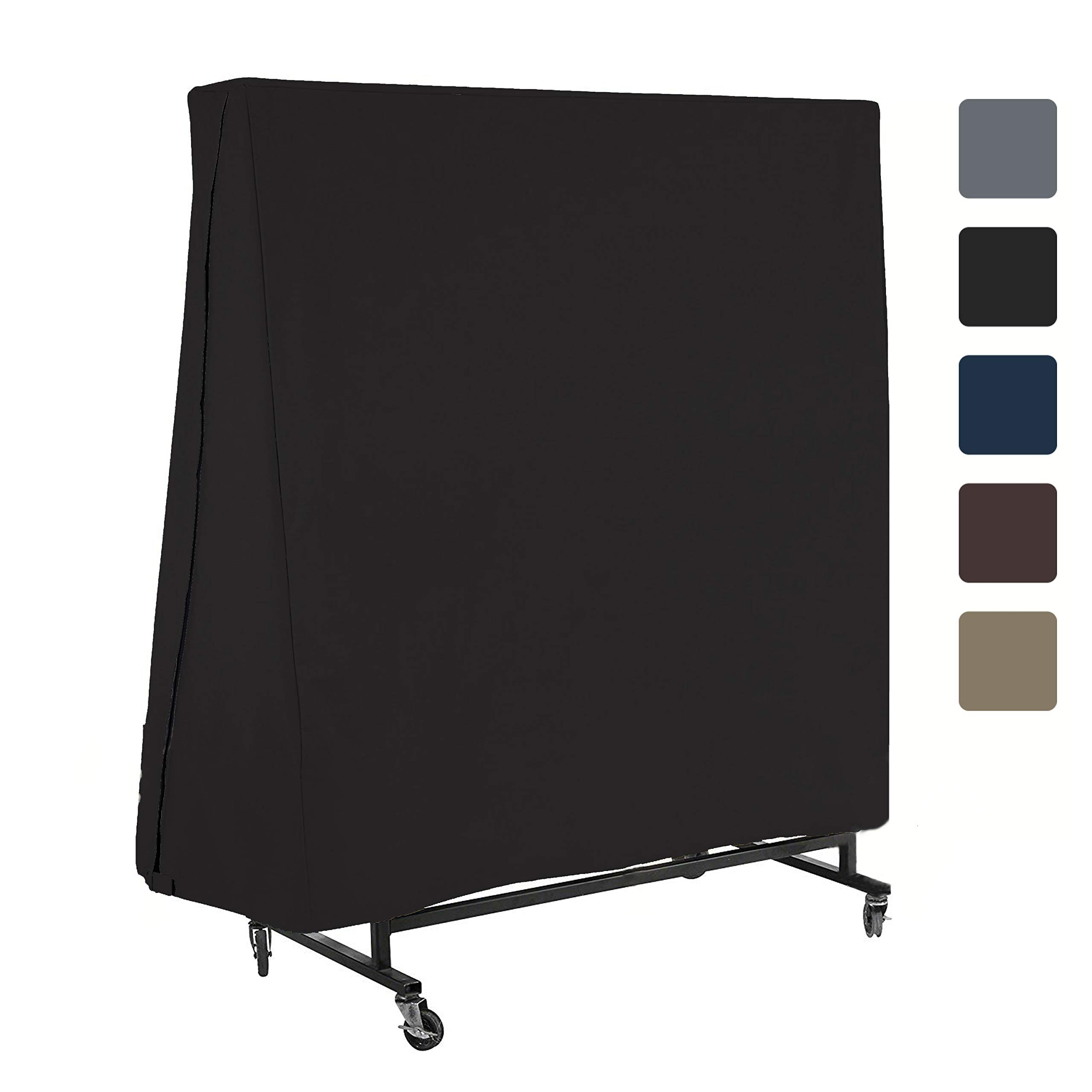 Ping Pong Table Cover for Indoor / Outdoor - Waterproof & UV Resistant Table Tennis Cover 12 Oz PVC Heavy Duty Fabric with Air Pockets & Drawstring for Snug Fit to With Stand Winds & Storms (Black)