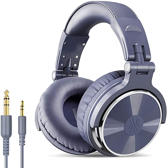 Amazon.com: OneOdio Over Ear Headphone, Wired Bass Headsets with 50mm Driver, Foldable Lightweight Headphones with Share Port and Mic for Recording Monitoring Mixing Podcast Guitar PC TV (Light Blue): Electronics