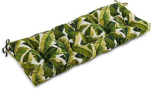 Greendale Home Fashions AZ5812-PALM-WHITE Tropical White 51-inch Outdoor Bench Cushion