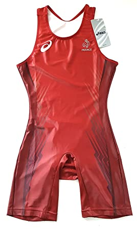 7a139873df5 ASICS Pro Elite Team France Pro Athlete Issue Singlet Track and Field  Athletics Olympic Red Men's