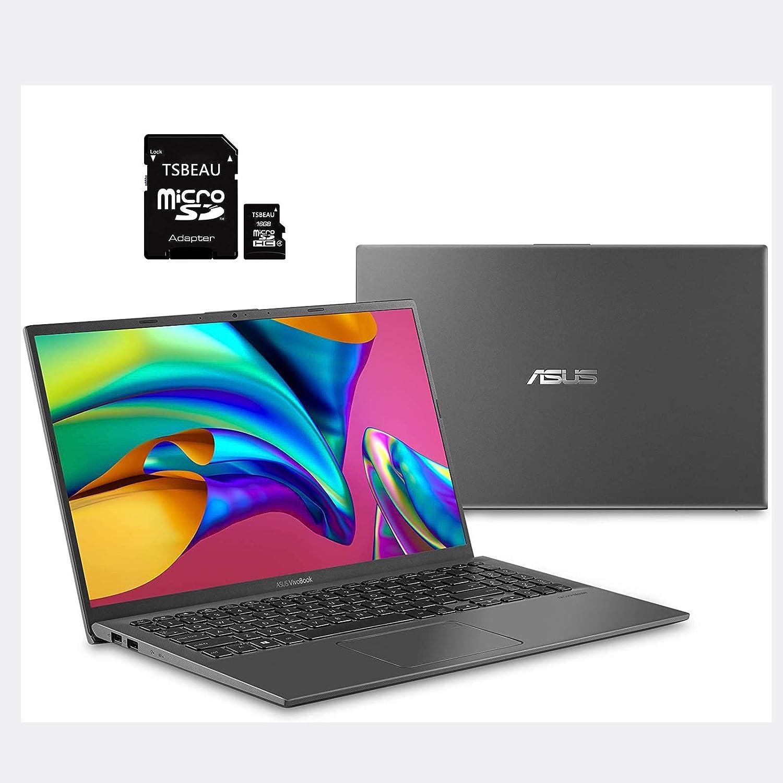 "Newest ASUS F512JA 15 Thin and Light Laptop, 15.6"" FHD Display, Intel i3-1005G1 Processor, 8GB RAM, 128GB SSD, Backlit Keyboard, Fingerprint, Win10 S, Gray, Bundled with TSBEAU 16GB MicroSD Card"