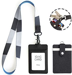 SENLLY ID Badge Holder Gift with Detachable Neck Lanyard Strap, 2 Card Slots and 1 Clear ID Window, for Office ID, School ID, Driver Licence, Credit Cards (Atlantic)