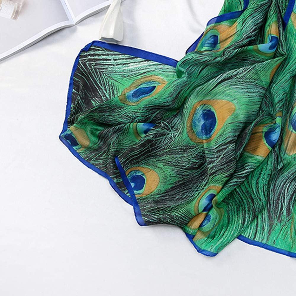 MLDSJQJ Sciarpe Moda Scialle per Donna Sciarpa di Seta Stampa Pavone Verde Femmina 180X90 cm Sciarpe Lunghe Poncho e Stole Scialli Sciarpe per Donna
