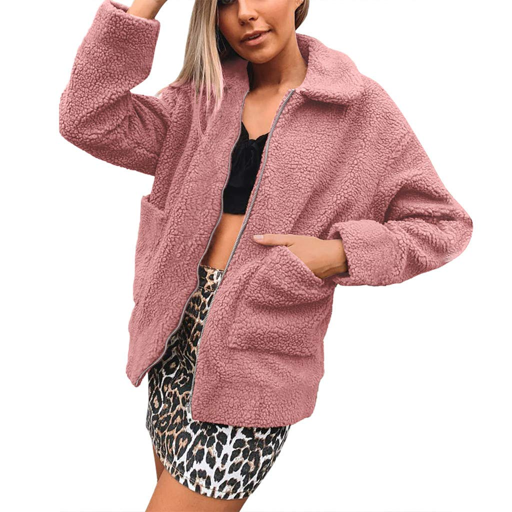Redacel Women's Long Sleeve Thick Hooded Open Front Cardigan Autumn Winter Warm Fuzzy Fleece Jacket Coat (XXXL,Pink) by Redacel