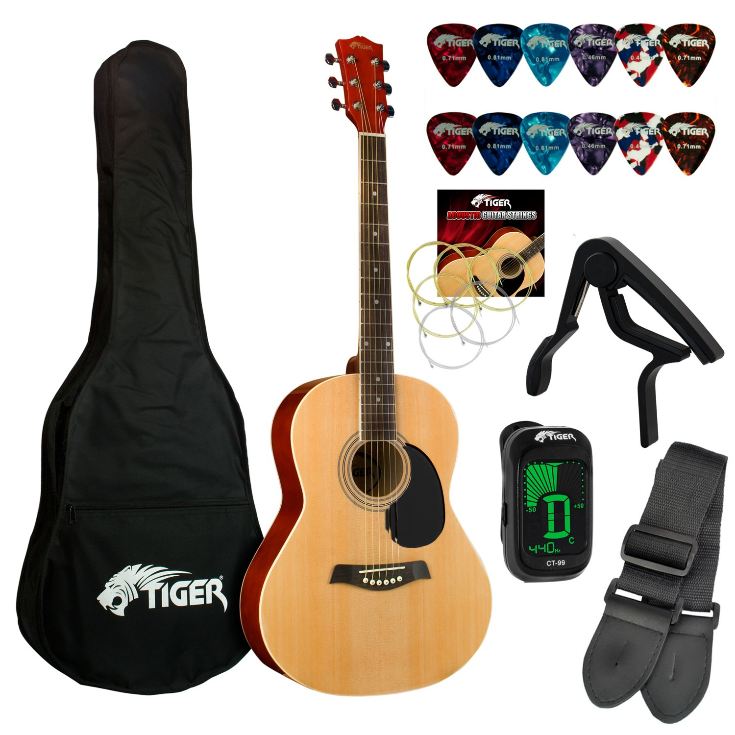 Tiger Beginners Acoustic Guitar Package - Natural TIGERMUSIC AZK-ACG2-NT-K
