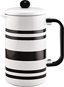 BonJour 47041 Hot Beverage Ceramic French Press Coffee Maker with Flavor Lock Filter and Bamboo Handle, 32 Ounce, Black Stripes