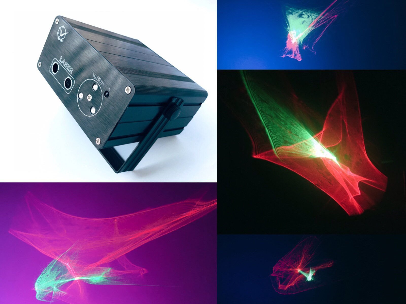 Abstract 3D Graphics Laser Light 5Light Source 5V 2A Control Background Color With IR Remote Control Voice Activated Stage Lamp Projector Lamp Lumiere DJ Club Party Live Show Projector square by Zaytoner