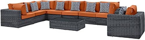 Modway EEI-2400-GRY-TUS-SET Summon Outdoor Patio Sectional Set with Sunbrella Cushions, 7 Piece, Canvas Tuscan Orange