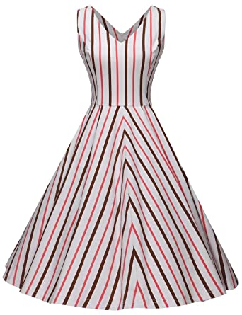 84fa027c6dd3 GownTown Women's 1950s Retro Vintage Cocktail Party Swing Dress at ...