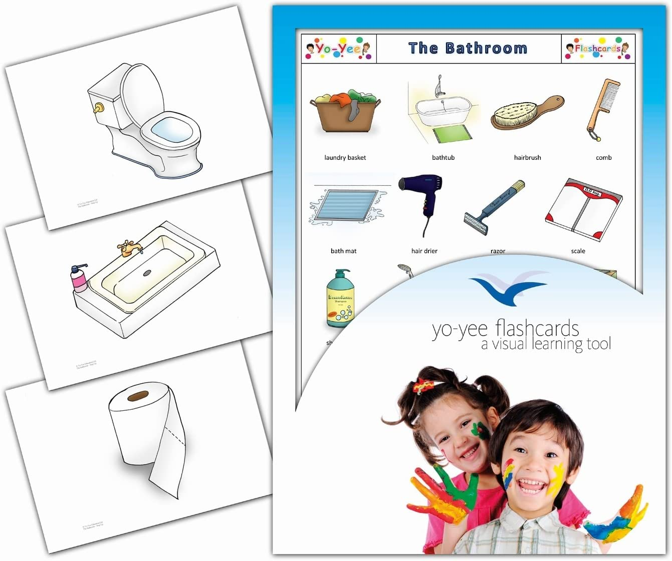 Bathroom and Body Care Picture Cards English Vocabulary Picture Cards for Toddlers Kids Children and Adults Yo-Yee Flashcards