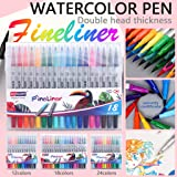 Child Color Pen Set Marker Watercolor Brush Oily Colored Drawing Fineliner Pen (24 Color)