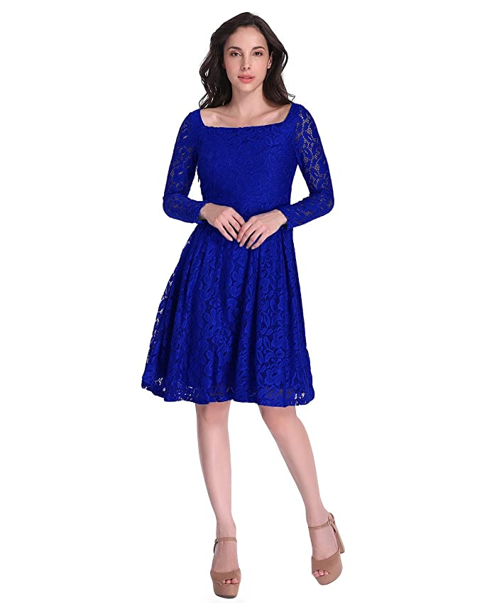 Auxo Mujer Vestidos Vintage de Fiesta Noche Cortos Novia Encaje Coctel Faldas Elegante Azul Royal ES 38/Asian M: Amazon.es: Ropa y accesorios