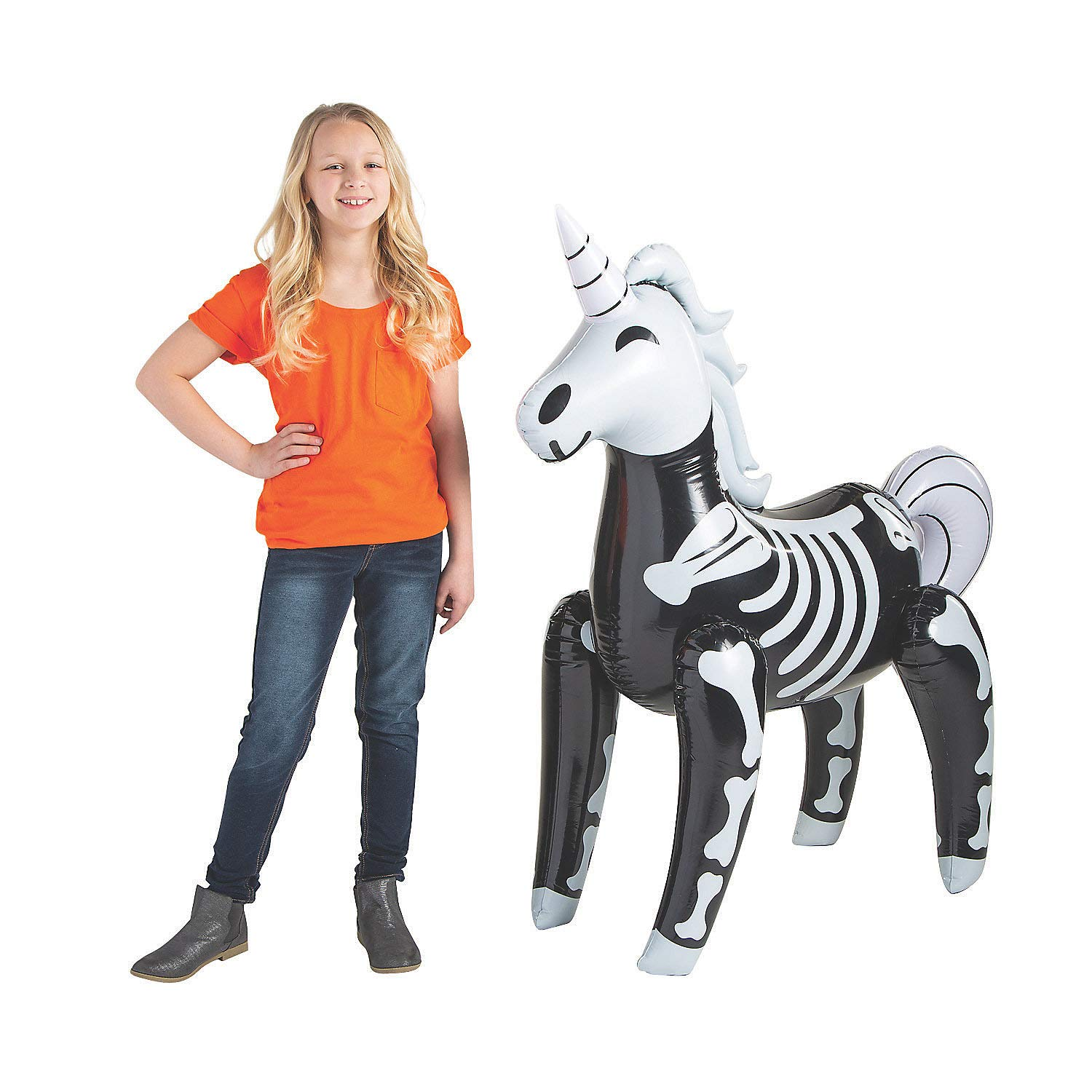 Fun Express Skeleton Unicorn Inflate for Halloween - Toys - Inflates - Inflatable Characters - Halloween - 1 Piece by Fun Express