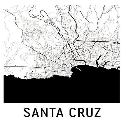 Santa Cruz Print, Santa Cruz Art, Santa Cruz Map, Santa Cruz CA,
