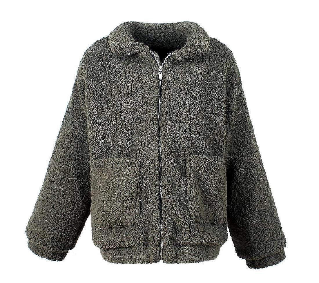 Army Green FreelyWomen Fall Winter Casual Warm Multicolord Zipper Pea Coat Jacket
