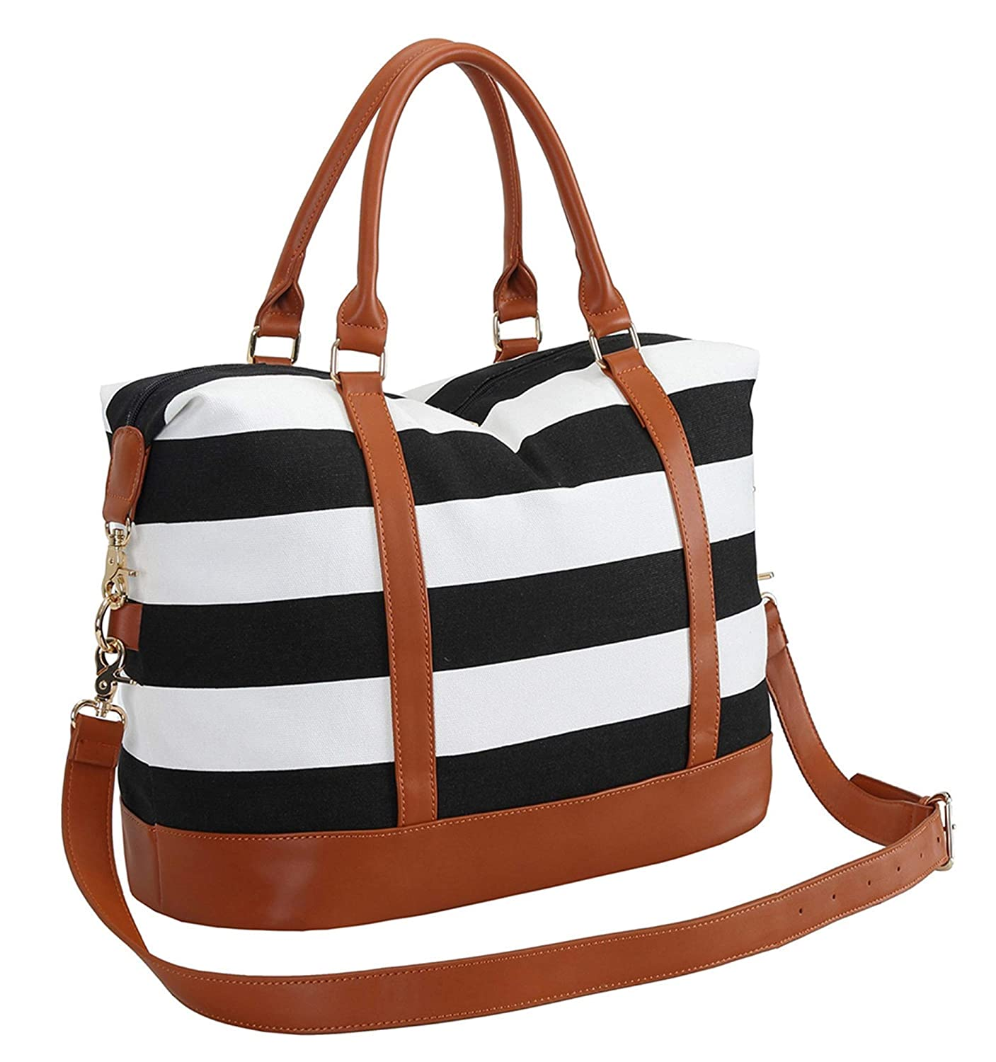 d00893f336f Amazon.com   BLUBOON Women Ladies Canvas Weekender Bag Overnight Carry-on Duffle  Tote Bag With PU Leather Strap in trolley handle   Carry-Ons