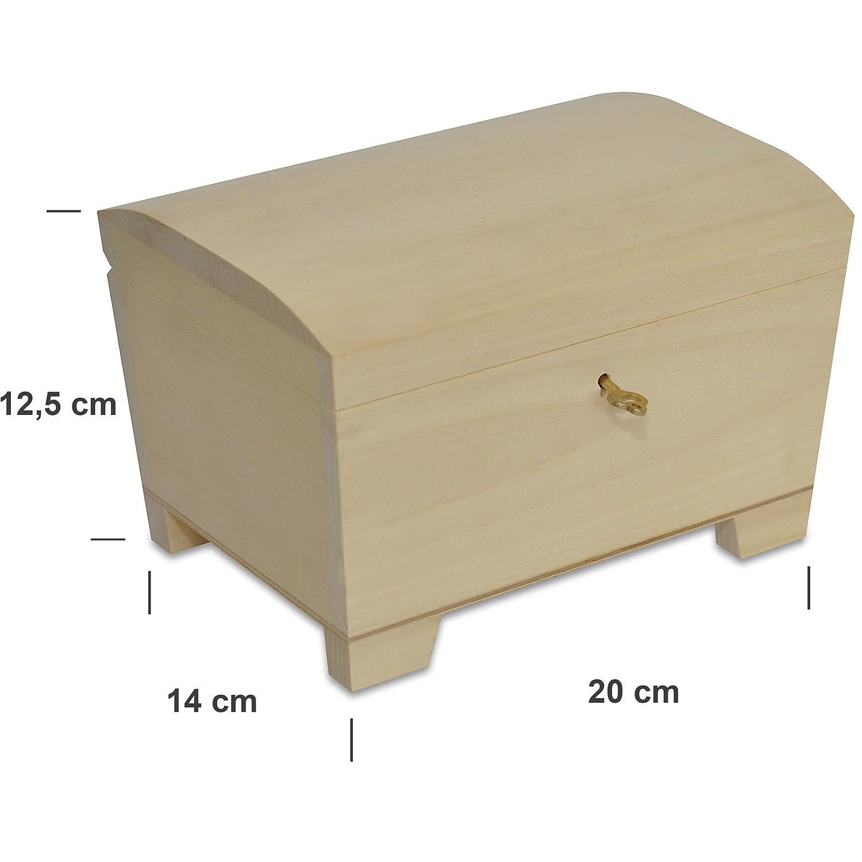 Creative Deco Caja con Llave Madera | 20 x 14 x 12,5 cm | con Cerradura y Curva Tapa Decorar, Joyería y Objetos de Valor: Amazon.es: Joyería