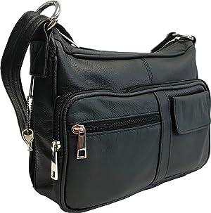 5. Genuine Leather Locking Concealment Purse CCW Concealed Carry Gun Bag Handbag