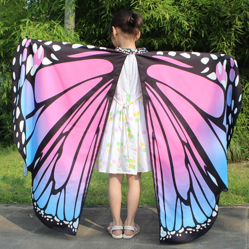 Adults, Blue Adults and Kid Baby Girl Butterfly Wings Shawl Scarves Nymph Pixie Poncho Costume Accessory Fancy Dressing Up Party Cosplay Clothes Summer Beach Kimono