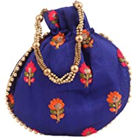 Bagaholics Ethnic Silk Potli Batwa Pouch Bag with Embroidery and Metal Beadwork Gift For Women