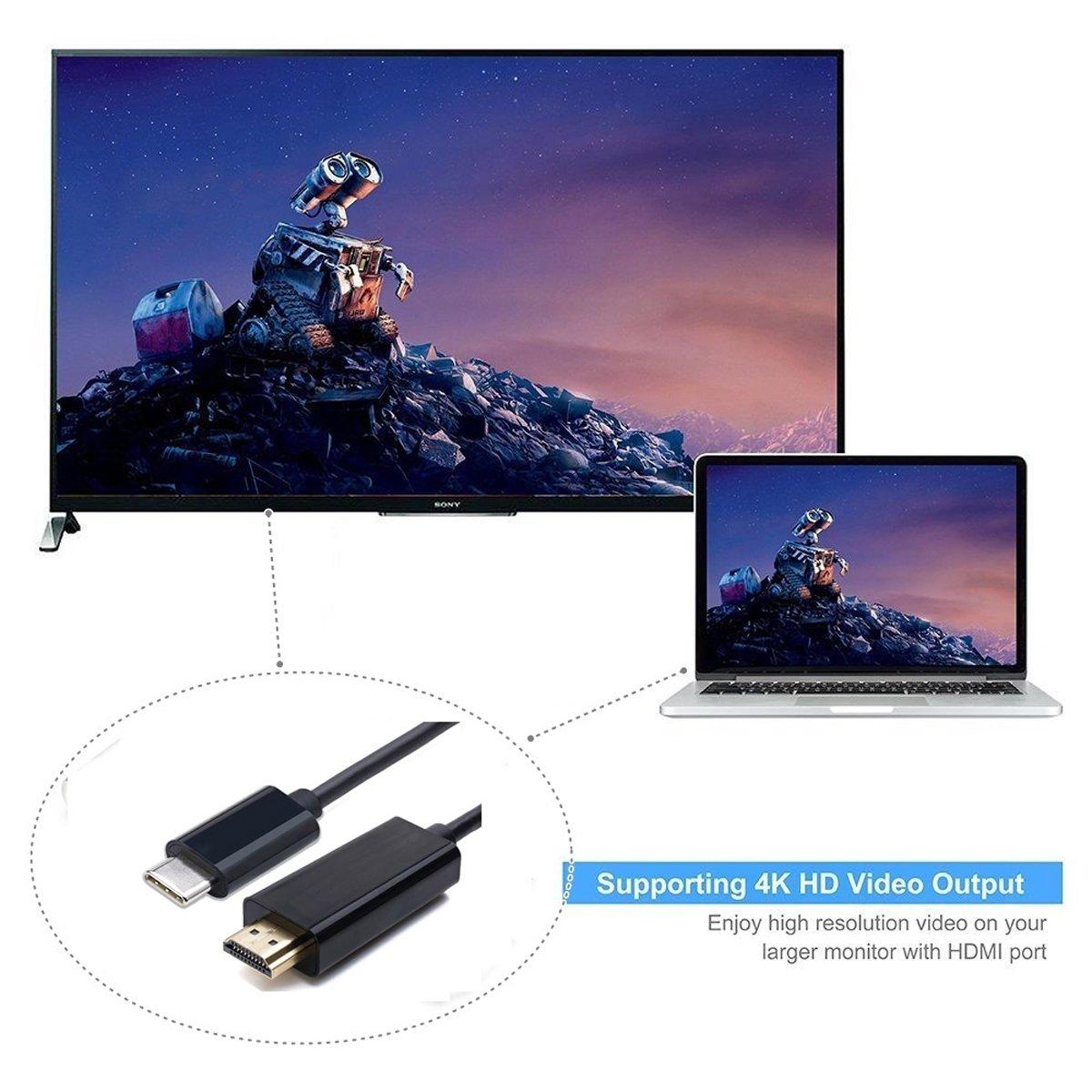 Jser USB-C type C USB 3.1/vers HDMI 4/K 2/K HDTV c/âble pour MacBook et Chrombook /& XPS13/pour ordinateur portable