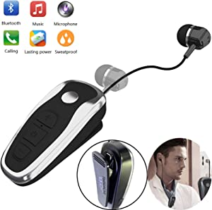 Bluetooth Headset Wireless Retractable Business Headphones Business Earbud Clip on Earpiece Compatible with Samsung iPhone Huawei LG Smart Cell Phones