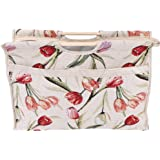 Knitting Bag Yarn Organizer Bag Knitting Needle Storage, Exquisite Practical Wood Handle Woven Fabric Storage Bag for Knitting Needles Sewing Tools(Red Flower)