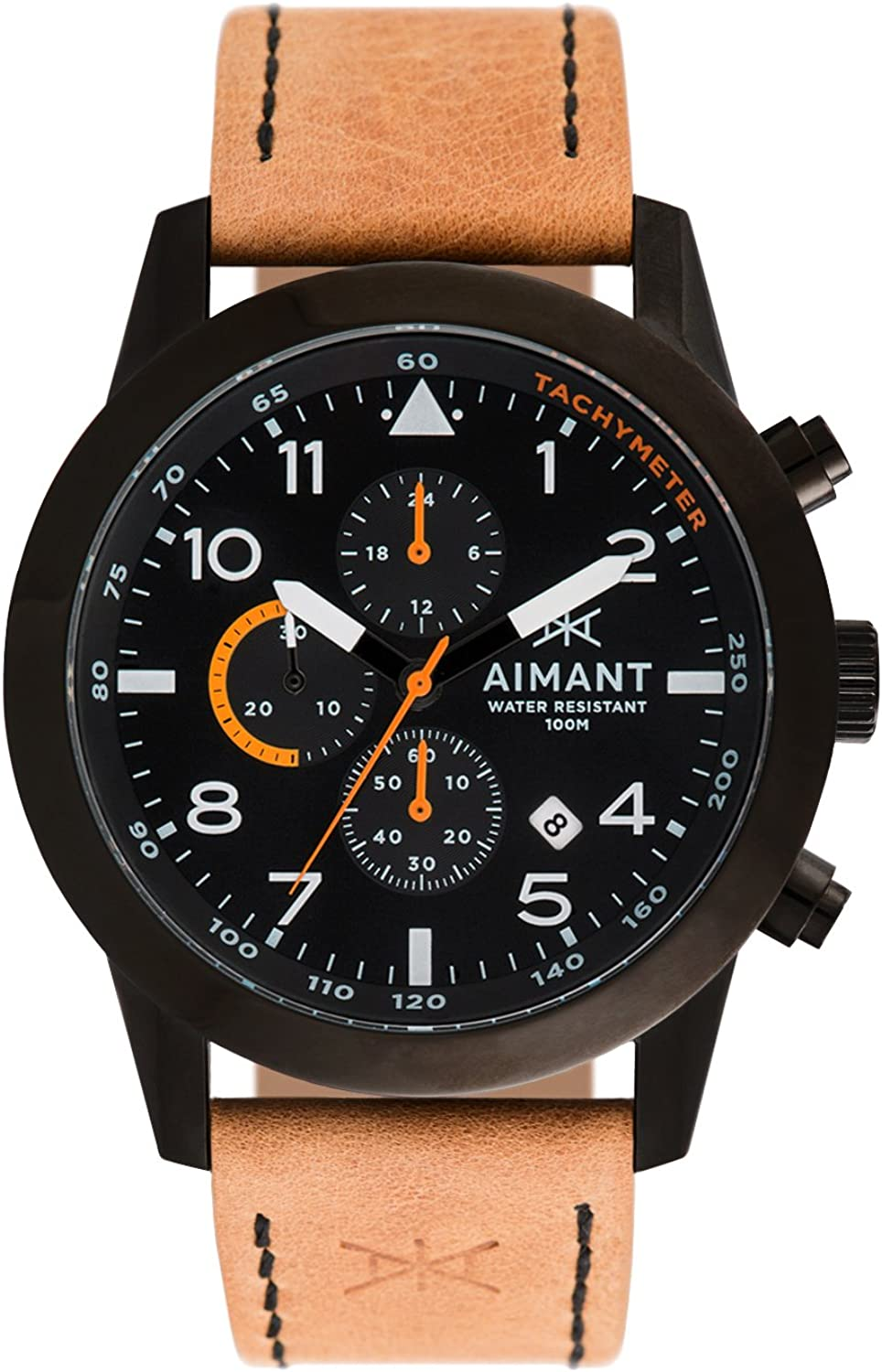 AIMANT Berlin Cronograph Watches : 47 MM Men's Analog Watch : Leather Strap