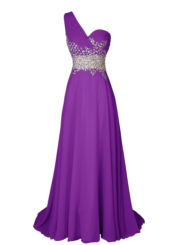 Dresstell(ドレステル) お呼ばれ 披露宴ドレス ワンショルダー キラキラビジュー付き ふんわりシフォン レディース B00SQWBMO2 JP5|パープル パープル JP5