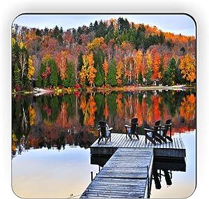 Rikki Knight Wooden Adirondack Chairs on Dock on Autumn Lake Design Square Fridge Magnet