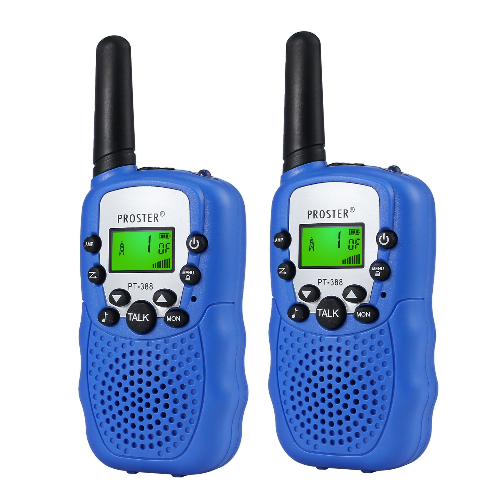 Proster Walkie Talkies LCD Kids Walky Talky UHF 446MHz 22 Channels Two Way Radios with LED Light on The Top Blue