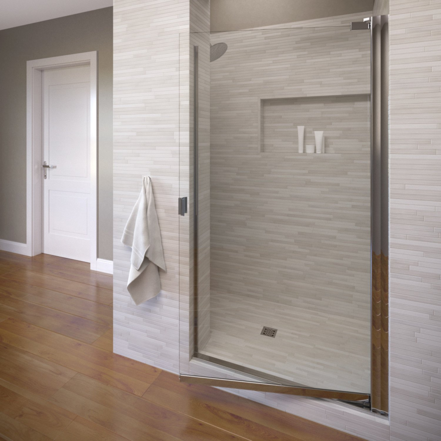 Basco Classic 28.625 to 30.125 in. width, Semi-Frameless Pivot Shower Door, Clear Glass, Silver Finish by Basco Shower Door (Image #1)