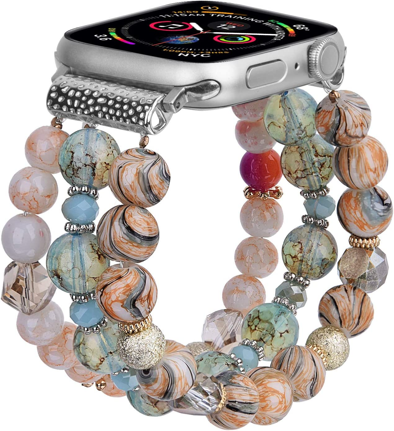 CAGOS Bracelet Beadeds Compatible with Apple Watch Band 42mm/44mm Series SE/6/5/4/3/2/1 Cute Handmade Fashion Elastic Stretch Beaded Strap Replacement with Stainless Steel Adapter for iWatch Blue