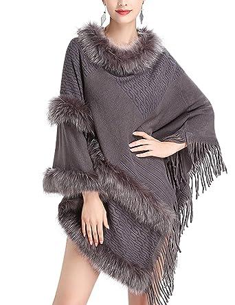 Femme Poncho de Cocktai Soirée Cape Fourrure Fausse Veste Élégant Franges  Top Chic Beunique fba5fd994a2