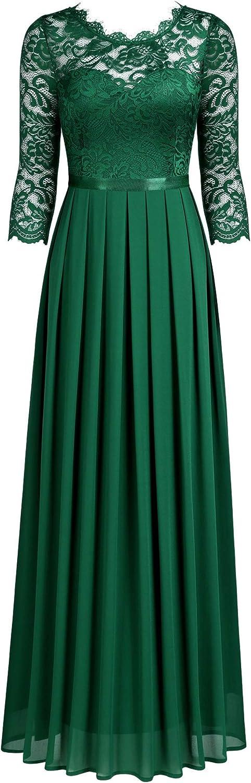 MIUSOL Pizzo Chiffon Vestito de Cerimonia Donna Lunghe