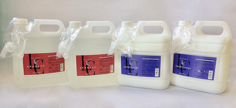 日本製!大容量ノンシリコン弱酸性微香料 ルノン「カラニカ エルシーシャンプーコンディショナー」各4000mI (エルシーシャンプー2個+コンディショナー2個 計4個セット) B07RR7RX1K