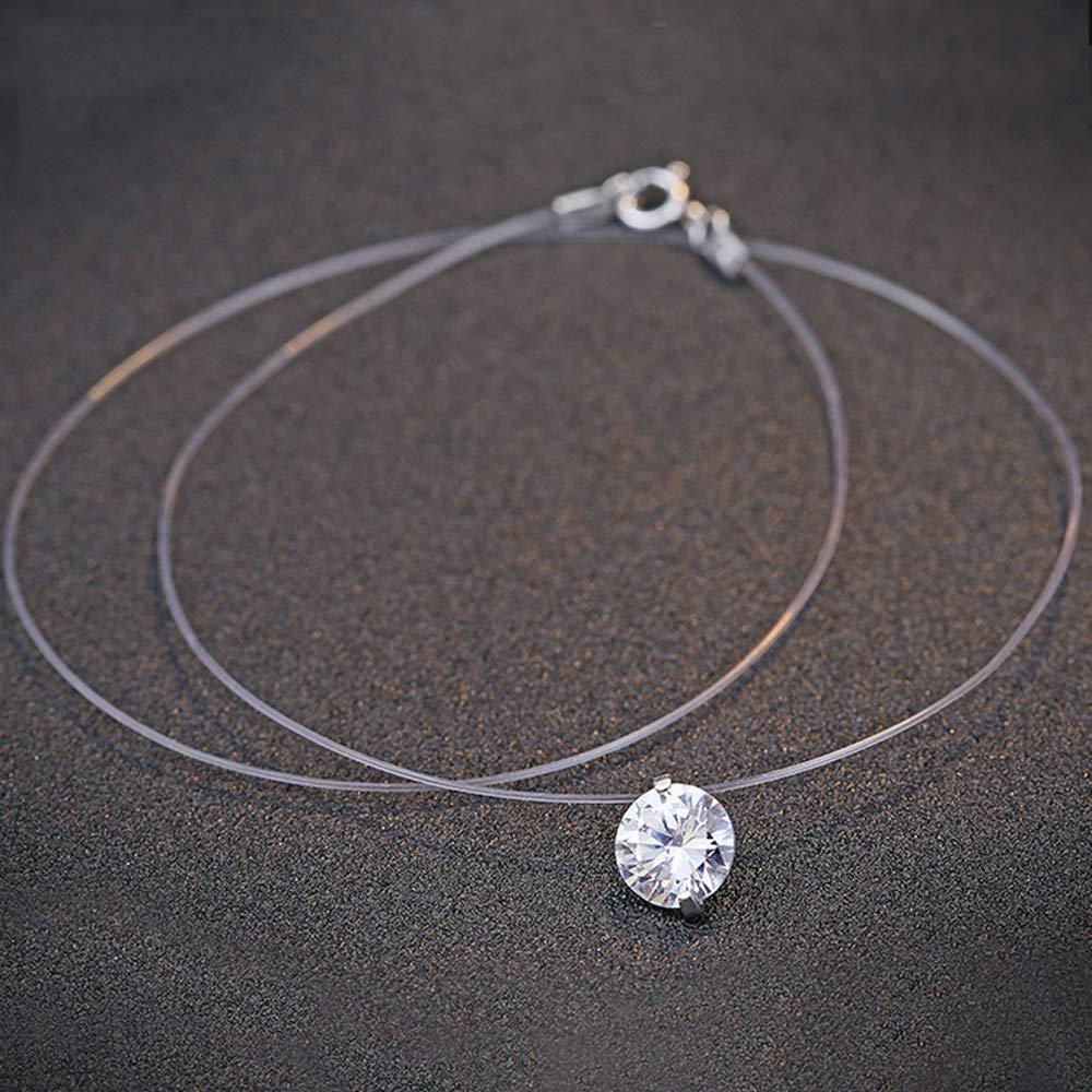Belons Collier en fil de nylon transparent avec pendentif en argent sterling 925 orn/é d/'une zircone de 8 mm pour femme 45//40cm ras du cou transparent avec effet de pierre flottante