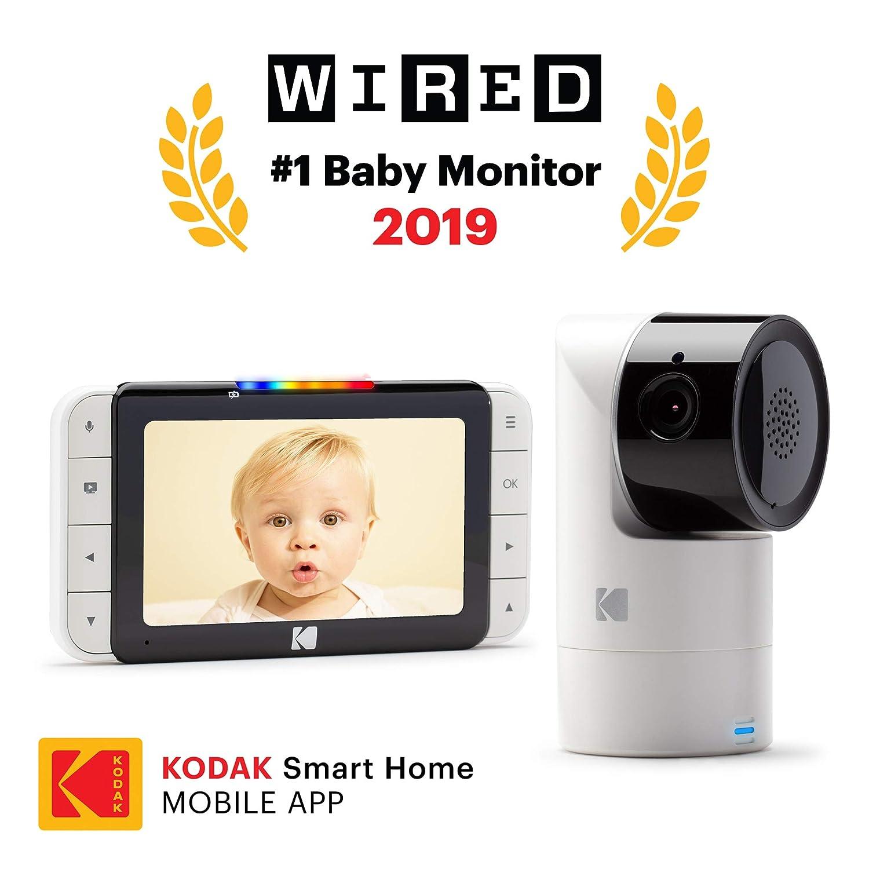 KODAK Cherish C525 Video-Babyphone 5-Zoll-HD-Babymonitor mobile und WLAN-App Neigende//Schwenkende//Zoomende Babykamera One-Touch-Audiomonitor