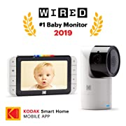 KODAK Cherish C525 Video Baby Monitor with Mobile App - 5  HD Screen - Hi-res Baby Camera with Remote Tilt, Pan and Zoom, Two-Way Audio, Night-Vision, Long Range - WiFi Indoor Camera