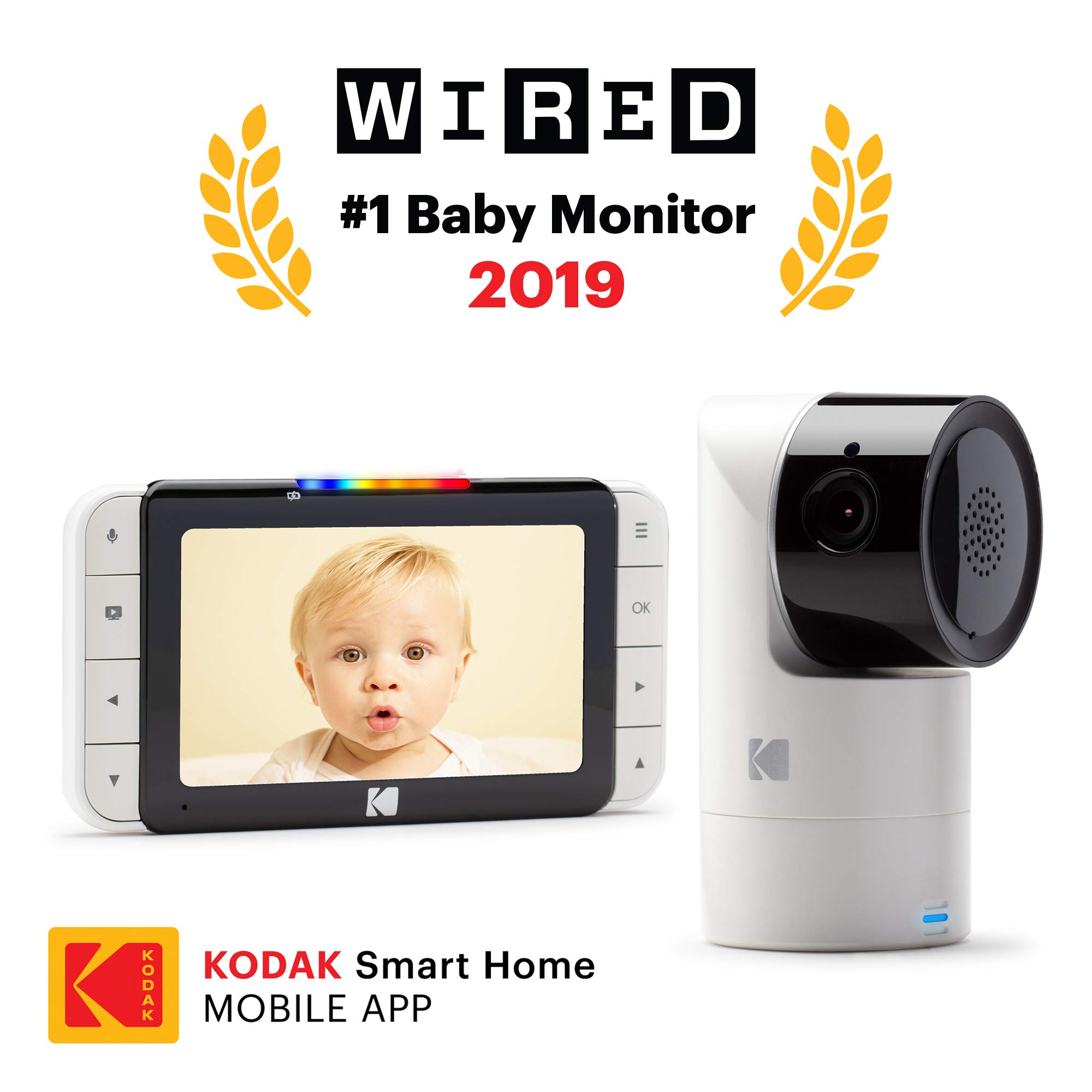 KODAK Cherish C525 Video Baby Monitor with Mobile App - 5'' HD Screen - Hi-res Baby Camera with Remote Tilt, Pan and Zoom, Two-Way Audio, Night-Vision, Long Range - WiFi Indoor Camera by Kodak (Image #1)