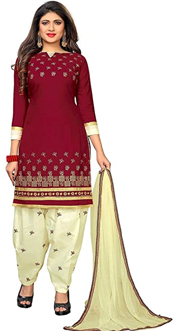e76b5e000 Cative Company Women s Cotton Embroidered Unstitched Salwar Suit Dupatta  Material (Maroon