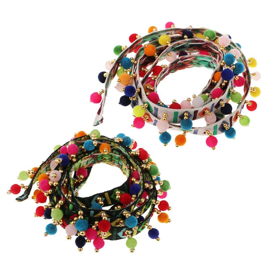 Sharplace 2 pezzi Pompon Palla Nappa Frangia Jacquard Nastro Decorativo Applique Patch Toppe per Rifiniture Cucito Artigianato DIY