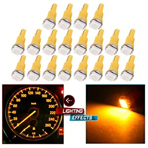 cciyu 20 Pack T5 58 70 73 74 Dashboard Gauge 1-SMD 5050 LED Wedge Lamp Bulbs Lights Replacement fit for Dashboard instrument Panel Light Bulbs LED Lamps (yellow)