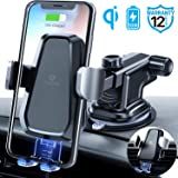 Andobil Wireless Car Charger Mount, Qi 10W Fast Charging, Hands-Free Phone Holder with Dashboard Suction Cup & Air Vent Clip, Compatible for iPhone Xs Max/XR/8 Plus/8/X/XS Samsung S10/S10+/S9/S9+/S8+
