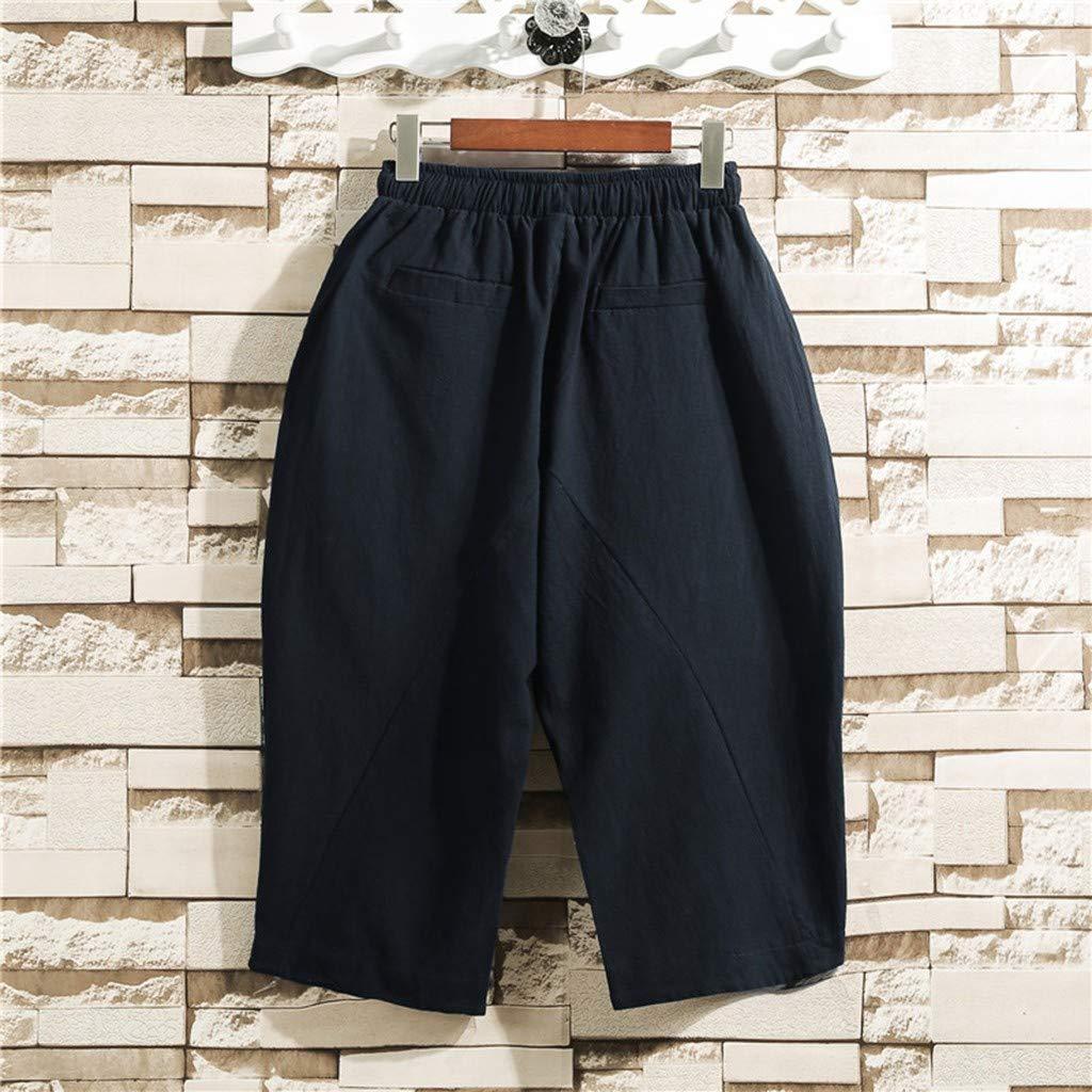 Men Plus Size Casual Linen Shorts Summer Comfort Elastic Waist Drawstring Pockets Lightweight Comfortable Pants Trousers Daorokanduhp
