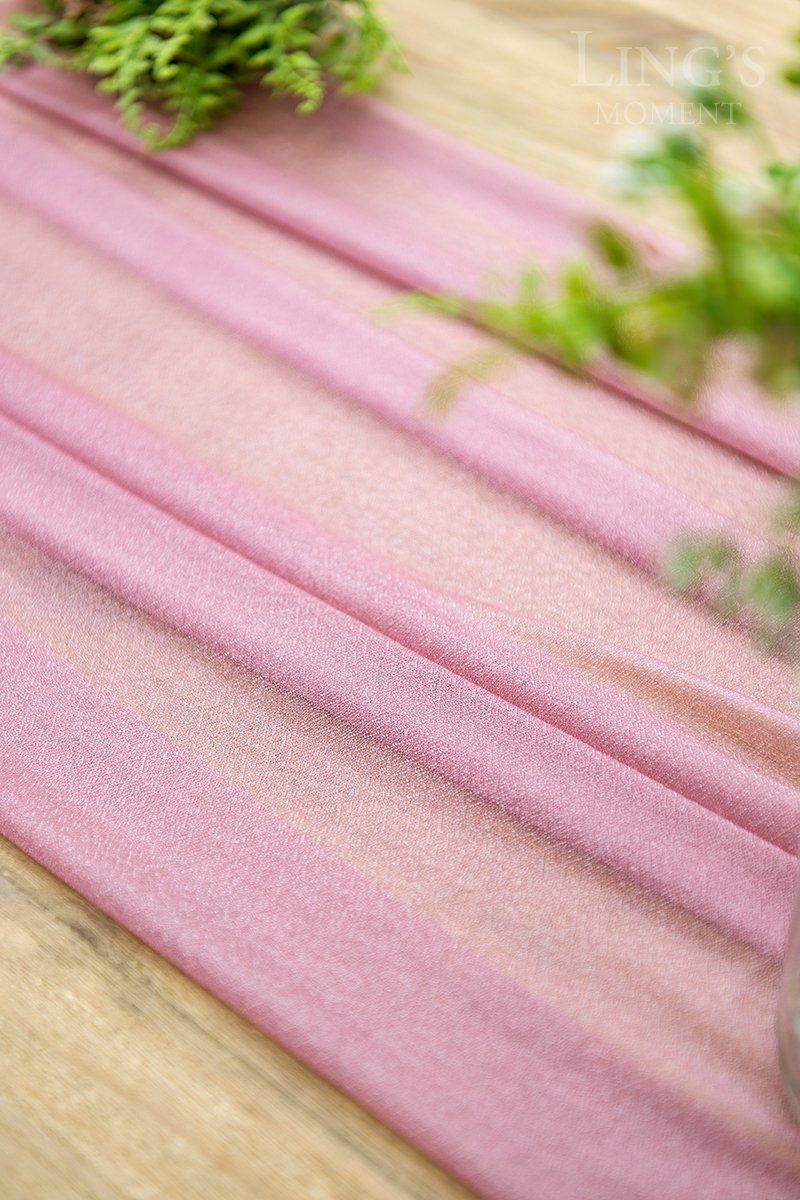 Ling's moment 32 x 120 inches Mauve/Dusty Rose Sheer Table Runner/Overlay Rustic Boho Wedding Party Bridal Shower Baby Shower Decorations by Ling's moment (Image #4)