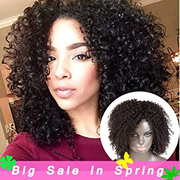 Kinky Curly Brazilian Human Remy Hair Wig For Black Women Machine Made  Curly Wigs Average Cap 54e1d410b8