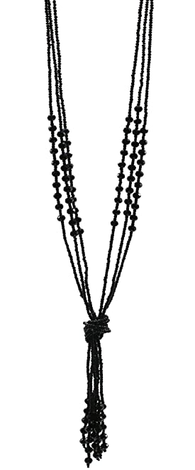 1920s Jewelry Styles History Zivyes Art Deco 1920's Flapper Long Black Multitier Tassel Beaded Pendant Necklace $9.99 AT vintagedancer.com
