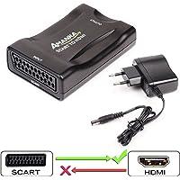 Scart Péritel vers HDMI Adaptateur, AMANKA Convertisseur Péritel vers HDMI Vidéo Audio Adaptateur 1080P HD Support PAL NTSC SECAM pour PS4 PS3 TV DVD - Noir